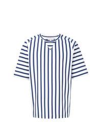 Camiseta con cuello circular de rayas verticales en blanco y azul marino