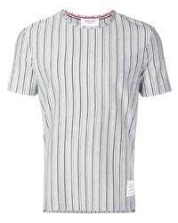 Camiseta con cuello circular de rayas verticales gris de Thom Browne