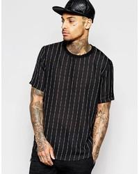 Camiseta con cuello circular de rayas verticales negra