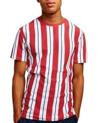 Camiseta con cuello circular de rayas verticales roja