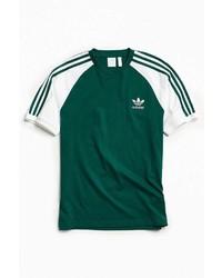 Camiseta con cuello circular de rayas verticales verde oscuro