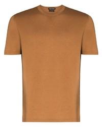 Camiseta con cuello circular de seda en tabaco de Tom Ford