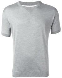 Camiseta con cuello circular de seda gris de Brunello Cucinelli