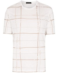 Camiseta con cuello circular de tartán blanca de Ermenegildo Zegna