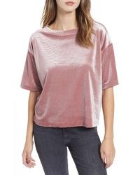 Camiseta con cuello circular de terciopelo rosada