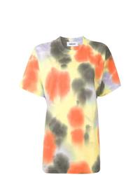 Camiseta con cuello circular efecto teñido anudado amarilla de Ambush