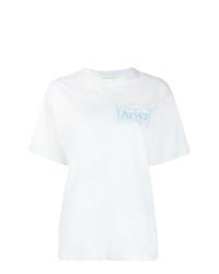Camiseta con cuello circular efecto teñido anudado blanca de ARIES