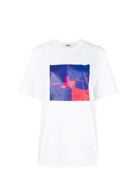 Camiseta con cuello circular efecto teñido anudado blanca de MSGM