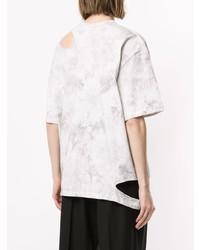 Camiseta con cuello circular efecto teñido anudado blanca de Le Ciel Bleu