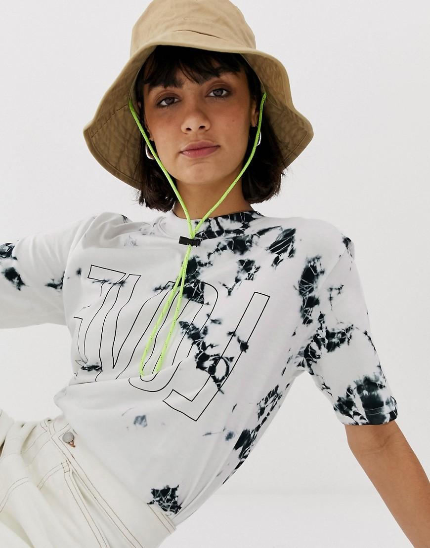 Camiseta con cuello circular efecto teñido anudado blanca de Weekday