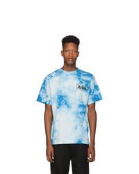Camiseta con cuello circular efecto teñido anudado celeste