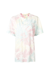 Camiseta con cuello circular efecto teñido anudado celeste de Stella McCartney
