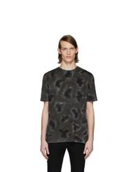 Camiseta con cuello circular efecto teñido anudado en gris oscuro