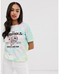 Camiseta con cuello circular efecto teñido anudado en multicolor