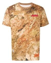 Camiseta con cuello circular efecto teñido anudado marrón claro de Heron Preston