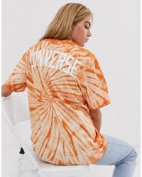 Camiseta con cuello circular efecto teñido anudado naranja de Converse