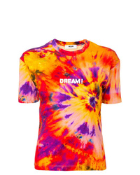 Camiseta con cuello circular efecto teñido anudado naranja de MSGM