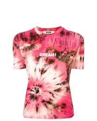 Camiseta con cuello circular efecto teñido anudado rosada de MSGM