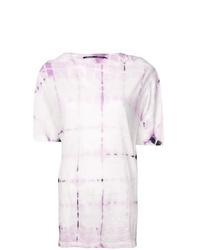 Camiseta con cuello circular efecto teñido anudado rosada de Proenza Schouler