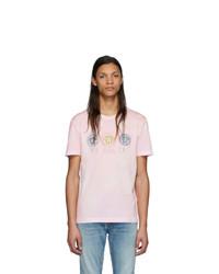 Camiseta con cuello circular efecto teñido anudado rosada de Versace