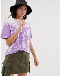 Camiseta con cuello circular efecto teñido anudado violeta claro de ASOS DESIGN