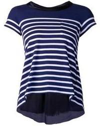 Camiseta con cuello circular en azul marino y blanco de Sacai