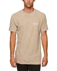Camiseta con cuello circular en beige