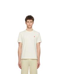 Camiseta con cuello circular en beige de AMI Alexandre Mattiussi