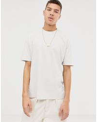 Camiseta con cuello circular en beige de ASOS WHITE