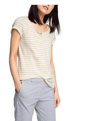 Camiseta con cuello circular en beige de Esprit