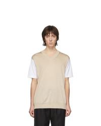 Camiseta con cuello circular en beige de Junya Watanabe