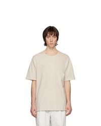 Camiseta con cuello circular en beige de Lemaire