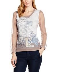 Camiseta con cuello circular en beige de ME&ME