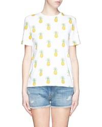 Camiseta con cuello circular en blanco y amarillo