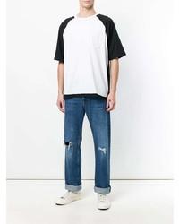 Camiseta con cuello circular en blanco y negro de Maison Margiela