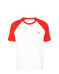 Camiseta con cuello circular en blanco y rojo