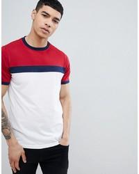 Camiseta con cuello circular en blanco y rojo y azul marino de Another Influence