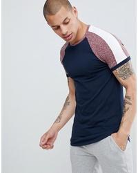 Camiseta con cuello circular en blanco y rojo y azul marino de ASOS DESIGN