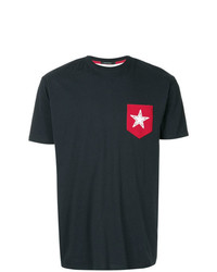 Camiseta con cuello circular en blanco y rojo y azul marino de GUILD PRIME
