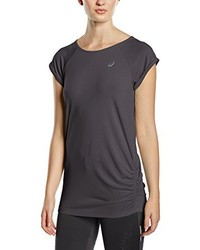 Camiseta con cuello circular en gris oscuro de Asics