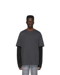 Camiseta con cuello circular en gris oscuro de Juun.J