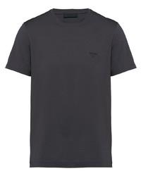 Camiseta con cuello circular en gris oscuro de Prada