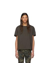 Camiseta con cuello circular en gris oscuro de R13