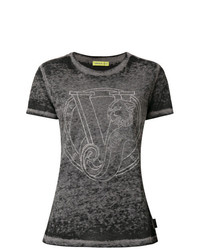 Camiseta con cuello circular en gris oscuro de Versace Jeans
