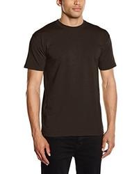 Camiseta con Cuello Circular en Marrón Oscuro de Fruit of the Loom