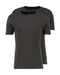 Camiseta con cuello circular en marrón oscuro
