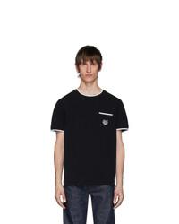 Camiseta con cuello circular en negro y blanco de Kenzo