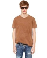 Camiseta con cuello circular en tabaco