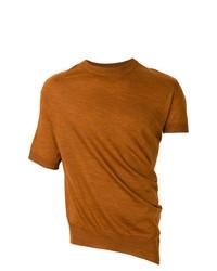 Camiseta con cuello circular en tabaco de Lanvin