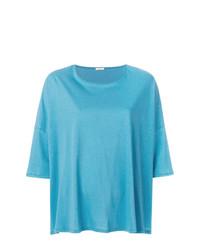 Camiseta con cuello circular en turquesa de Apuntob